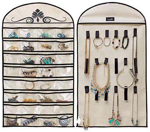 MISSLO Hanging Jewelry Organizer Holder 32 Pockets 18 Loops for Accessories Storage, Beige (Teen College Dorm)