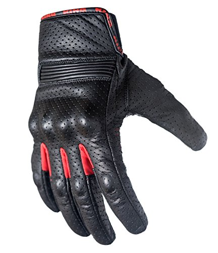 Motorcycle Biker Gloves Black Premium Leather | Touchscreen | Padded All Weather Feature for Men and Women | Breathable Moisture Wick Air Flow Technology Between Fingers | SWIFT (Red-XL)