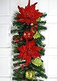 6' Christmas Poinsettia / Glitter Ball Garland