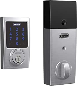 Schlage Lock Company BE469ZP CEN 626 Schlage Connect Smart Deadbolt with alarm with Century Trim in Satin Chrome, Z-Wave Plus enabled,