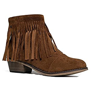 Breckelles Women Suede Fringe Cap Toe Ankle Booties, New Tan - 7 B(M) US