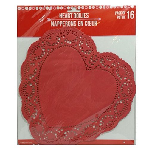 Heart Lace-Trimmed Paper Doilies 10 inches Pack of 16 (Red) ()