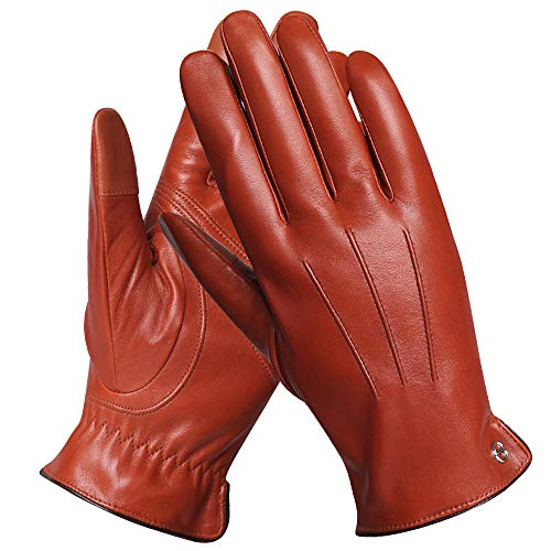 - Luxury Men's Touchscreen Texting Winter Italian Nappa Leather Dress Driving Gloves (Cashmere/Wool/Fleece Lining) (9 (US Standard Size), Saddle Brown (Cashmere Lining))