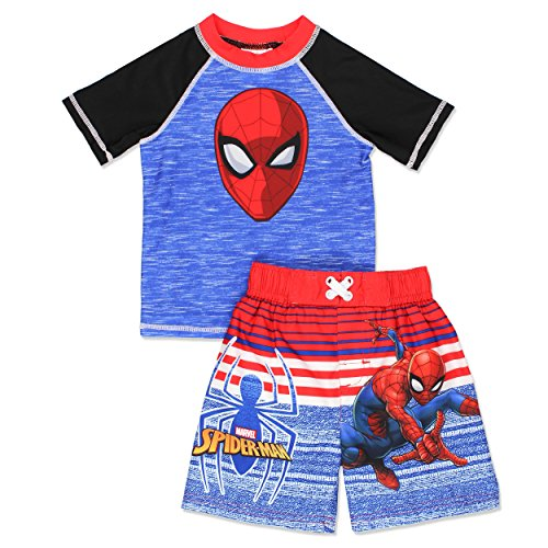 Spider-Man Boys Swim Trunks and Rash Guard Set (4T, Blue/Red)
