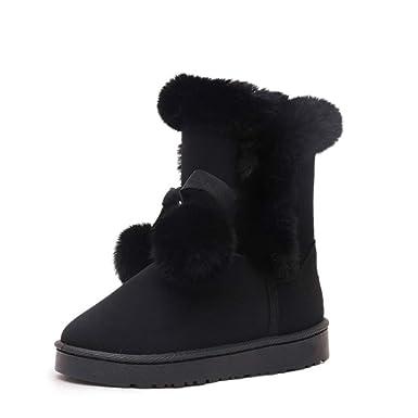 d94feedf6d923 Amazon.com: Women Girls Winter Warm Snow Boots Slip-on Flat Hiking ...