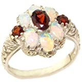 925 Sterling Silver Natural Garnet and Opal Womens Cluster Ring - Sizes 4 to 12 Available