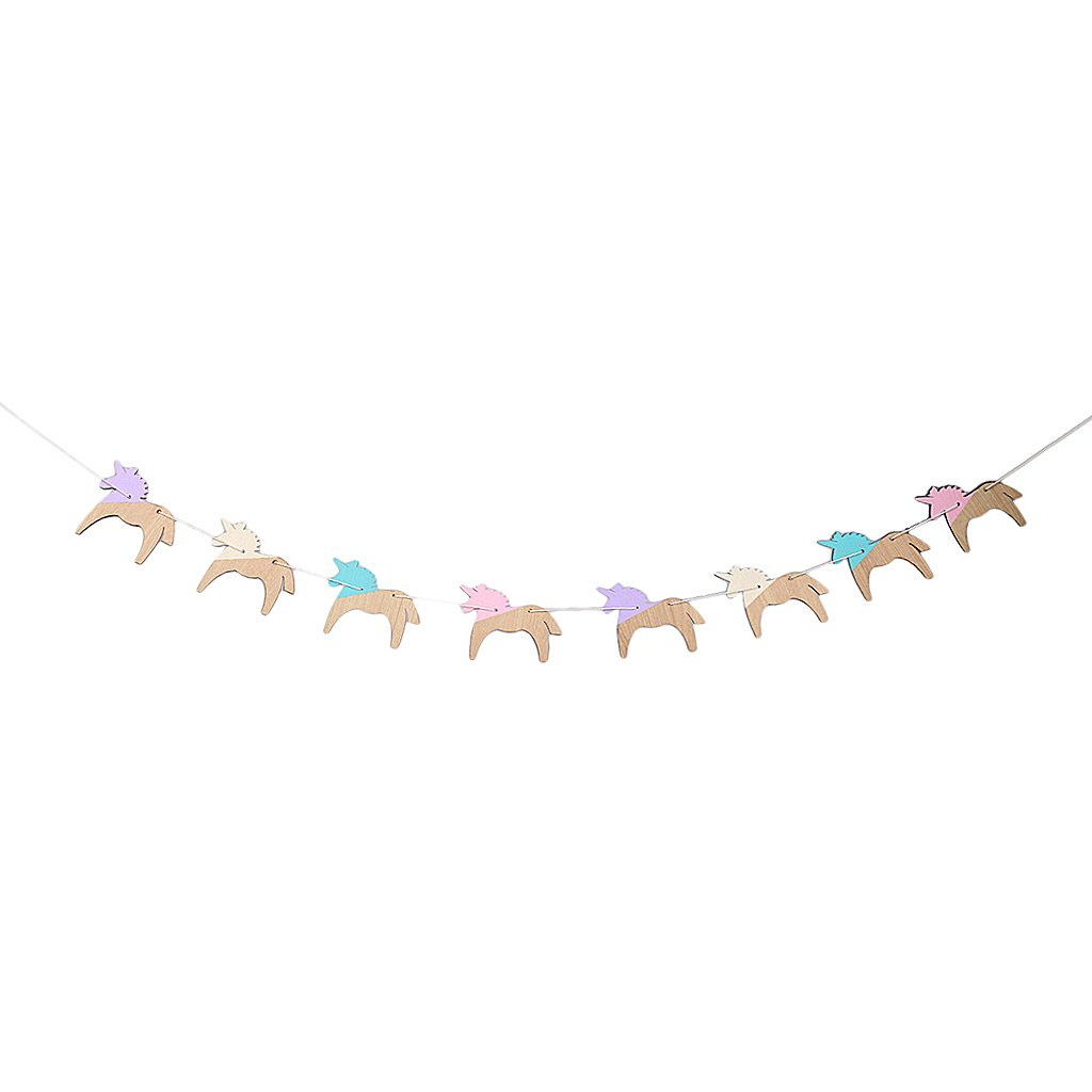 Jili Online Vintage Style Wood Unicorn Shape Garland Banner Home Party Supplies