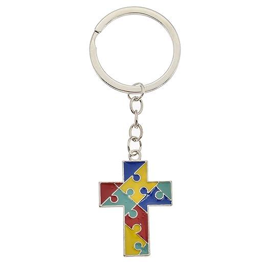Autism Awareness Keychain Cross Heart Jigsaw Puzzle Piece Asperger ... c7dc896050