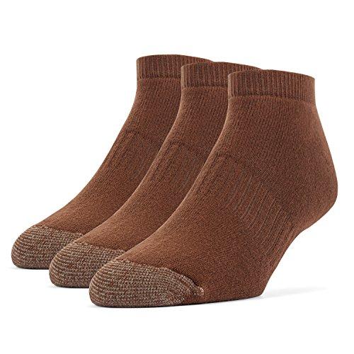 Galiva Men's Cotton Extra Soft Low Cut Cushion Socks - 3 Pairs, Medium, Brown