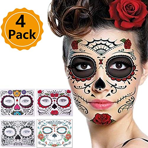 Halloween Face Tattoo, 4pcs Different Design Temporary Face Tattoo Kit Waterproof and Environmental Protection Stage Props Art -