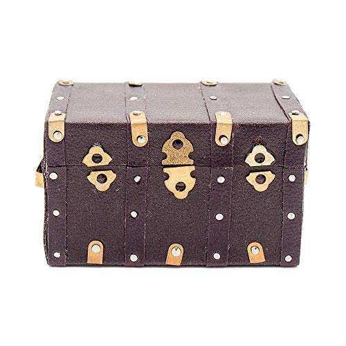 Odoria 1:12 Miniature Vintage Treasure Chest Wooden Case with Leather Cover Dollhouse Decoration ()