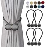 curtain tie back ideas DEZENE Magnetic Curtain Tiebacks,The Most Convenient Drape Tie Backs,Decorative Rope Holdback Holder for Big,Wide or Thick Window Drapries,4 Pack(16 Inch Long),Dark Grey
