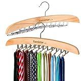 Famistar 2 Pack of 2 Sizes Wooden Hangers, Multipurpose Tie Belt Scarf Rack Holder Hook Closet Organizer Storage-Adjustable Clips up to 24 Ties
