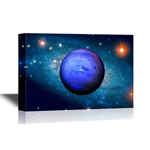 vas Wall Art - Planet Neptune in Solar System - Gallery Wrap Modern Home Decor | Ready to Hang - 24x36 inches ()