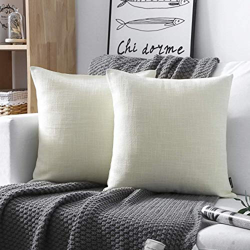 Phantoscope Decorative Set of 2 Textural Faux Linen Series Throw Pillow Case Cushion Cover Off-White 18
