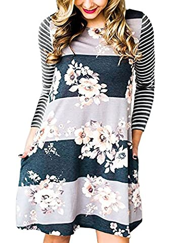 Ankosen Women Casual A-line Plain Flowy Simple Swing T-shirt Loose Dress Tunics Grey L - Holiday Stretch Lace Dress