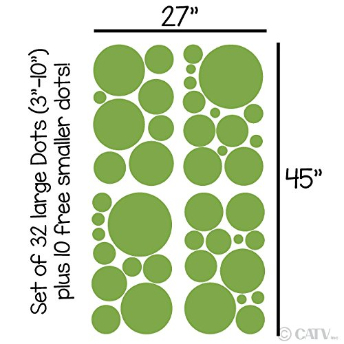 (Assorted Vinyl Polka Dots circle wall decals vinyl stickers nursery decor (Lime Green/set of 32))