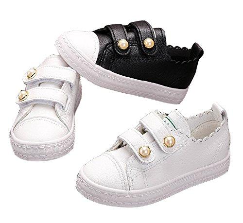 VECJUNIA Mädchen Prinzessin PU Leder Perlen Verziert Sneakers Flache Kleid Schuhe Pink