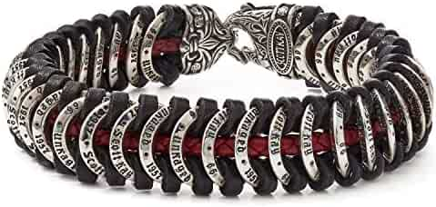 Scott Kay Men's Samurai Leather and Sterling Silver Bracelet - Red, 8.5 Inches