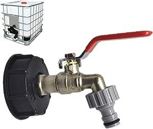 "Jushom IBC Tote Tank Food Grade Drain Adapter 1/2"" Garden Hose Faucet Water Tank Hose Connector Replacement"