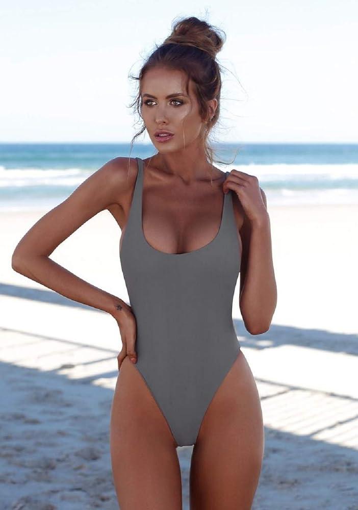 UMIPIBO Mujer Traje de Baño Una Pieza Bañador Sexy Ropa de Baño Bikini Acolchado Bañador Natación Trajes de Una Pieza ((EU:44-46) L, Gris): Amazon.es: Ropa y accesorios