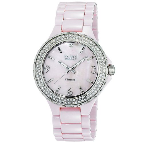 Burgi Diamond Ceramic Mother of Pearl Quartz Ladies Watch BUR047PK