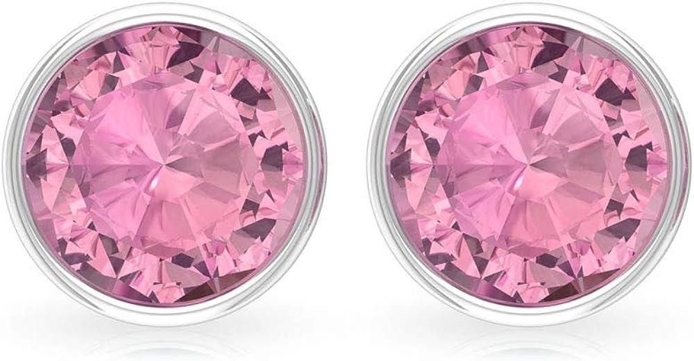 Pendiente con certificado SGL de turmalina de 1,62 ct, clásico rosa solitario de piedras preciosas para mujer, declaración de oro nupcial, tornillo hacia atrás