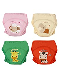 4Pack Baby Girls Traning Pants Underwear Toddler Cotton Potty Cloth Diaper Sheep Hippo Giraffe Zebra Size 100
