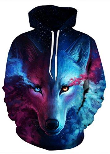 3d Wolf Felpe Maniche Uomo A Lunghe Bl Pullover Con Stampato Divertente Unisex Natale Di Colourful Hd Cappuccio Patterned Alicecoco 4YATY
