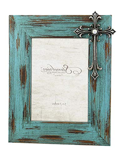 Stоnеbriаr Home Decor Distressed Turquoise Wood 5x7 Photo Frame with Vintage Jeweled Cross Detail, for Table Top or Wall Hanging Display, Religious Gift Idea for Friends and Family