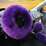 3Pcs Set Womens Winter Fashion Wool Fur Soft Furry Steering Wheel Covers Purple Fluffy Handbrake Cover Gear Shift Cover Fuzz Warm Non-slip Car Decoration Long Hair