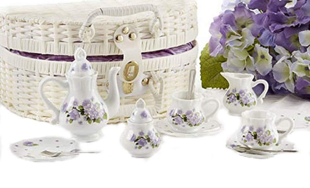Delton Porcelain Tea Set in Basket, Purple Glory Delton Products 8116-7