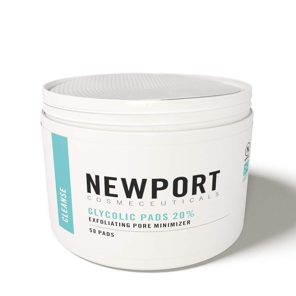 20% Glycolic Acid Pads and Exfoliating Face Cleansing Wipes for Targeted Adult Acne Treatment. Dermatological-Strength AHA in a Transformative Skin Peel for Face and Neck by Newport Cosmeceuticals