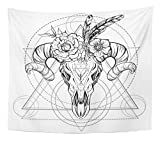 Emvency Tapestry Artwork Wall Hanging Boho Chic Ethnic Native American Bull Skull with Feathers and Flowers on Horns 50x60 Inches Tapestries Mattress Tablecloth Curtain Home Decor Print