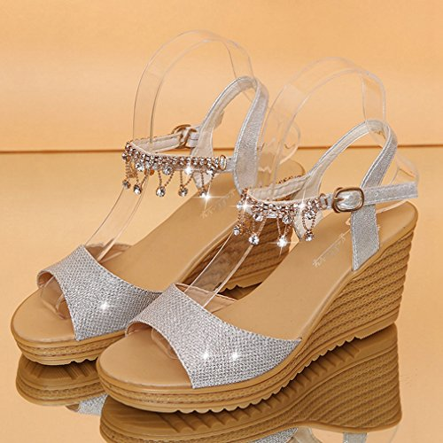 Womens JULY Slipppers String Dress on Slip Toe Fashion Slide Walking Diamond Silvery Sandals Heel Wedge High T Peep Platform d5Tqxwd