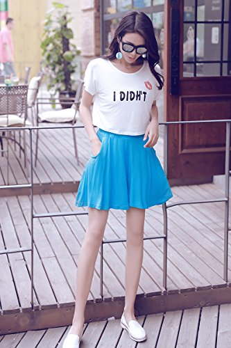 Women's Easy Shorts Elastic Waist Culottes Comfortable Relax Wear (Grey) Culottes Elastic Waist Shorts Flare Shorts Knee Length Loose Fit Shorts Mini Skirt Sheer Spats by PT&Key (Image #5)