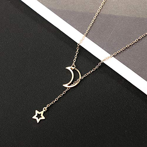(Gbell Clearance! Women's Girls Star Moon Necklace Pendant Choker Charms,Gold Silver Simple Long Neck Chain Jewelry Gifts, 31cm+7cm Ideal for Wedding,Party,Engagement)