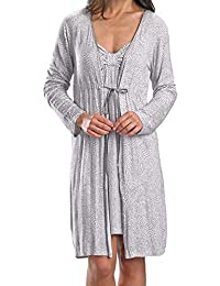 Ladies Luxury White with Grey Spotted Robe, Dressing Gown, Housecoat