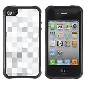 Pulsar Defender Series Tpu silicona Carcasa Funda Case para Apple iPhone 4 / iPhone 4S , White squares Pattern