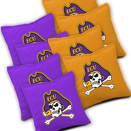 EAST CAROLINA PIRATES Cornhole Bags SET of 8 Officially Licensed ACA REGULATION Baggo Bean Bags ~ Made in the USA