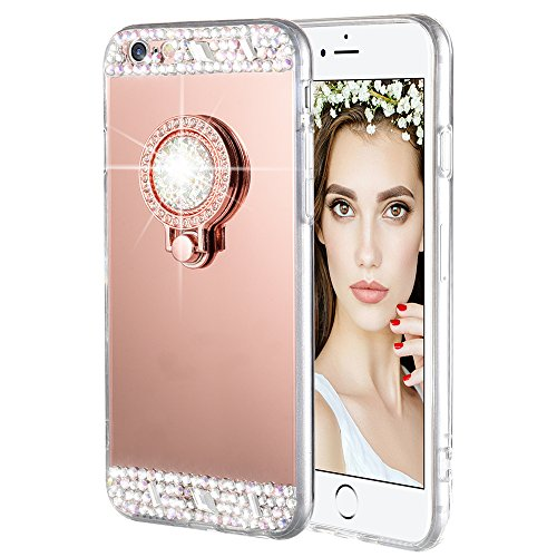 Caka iPhone 6/6S Case, iPhone 6S Glitter Case Rhinestone Series Luxury Cute Shiny Bling Mirror Makeup Case for Girls with Ring Kickstand Diamond TPU Case for iPhone 6/6S - (Rose Gold)
