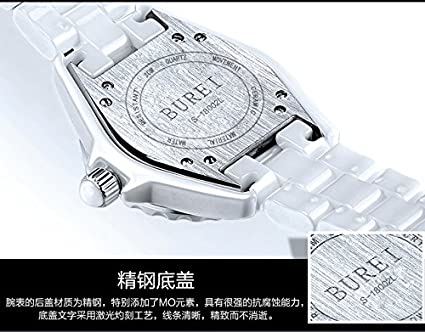 Suiza Reloj mujer marca de lujo J12 serie Paris la Tour Eiffel Diamond  Pearl Cerámica impermeable Wriswatches  BUREI  Amazon.es  Relojes d4885f0cebb1