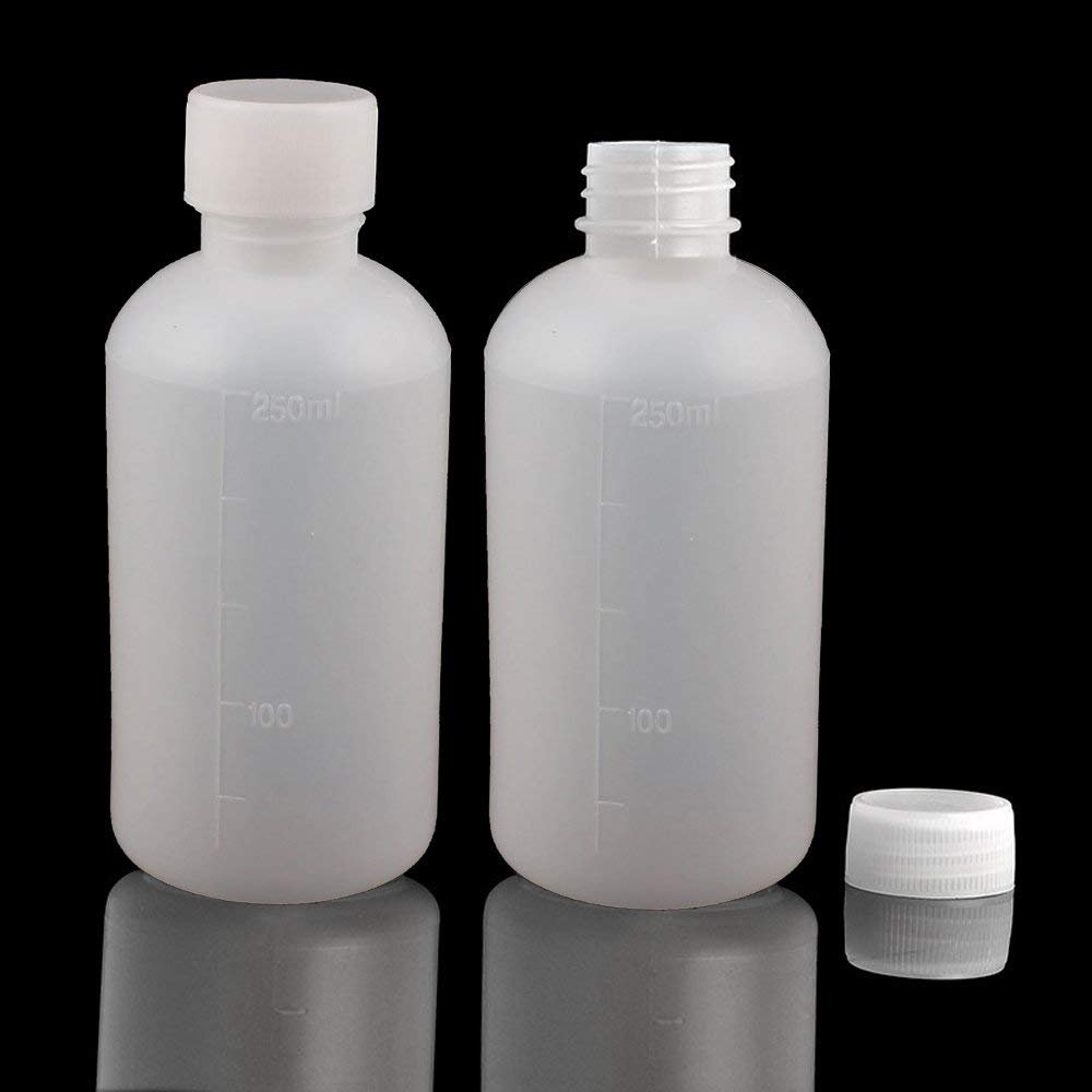 8Pcs 250ml PE Plastic Empty Small Mouth Graduated Lab Chemical Container Reagent Bottle Sample Sealing Liquid Medicine Bottle by GDGY (Image #3)
