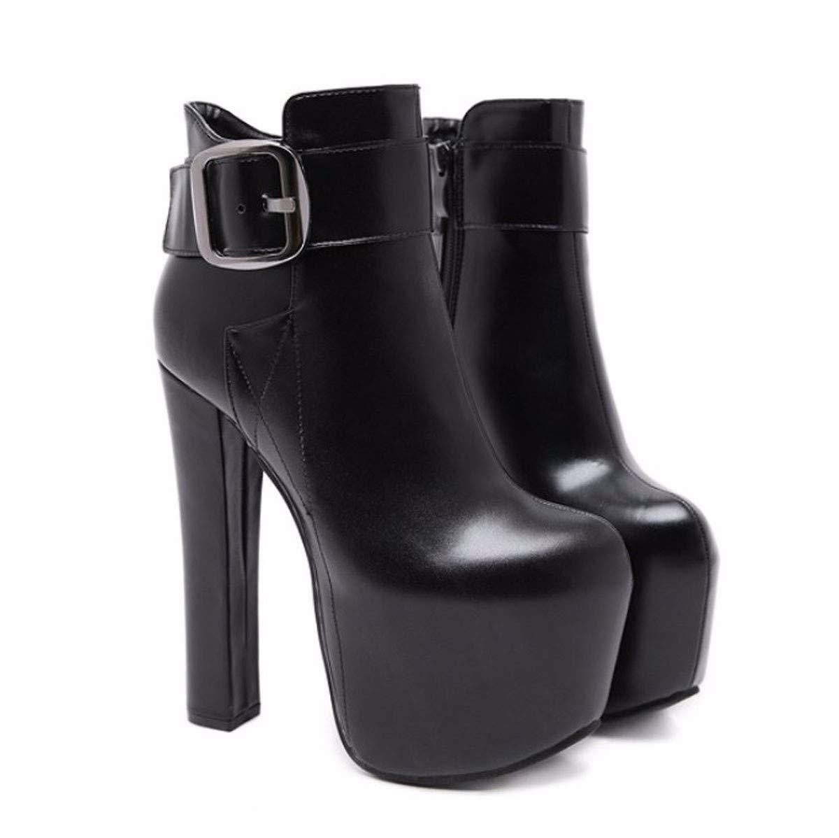HBDLH Damenschuhe/Mode Kurze Stiefel High 17Cm Gürtel Harte Sohle Nachtclub Wasserdicht High - Heel HASS Hohe Stiefel.