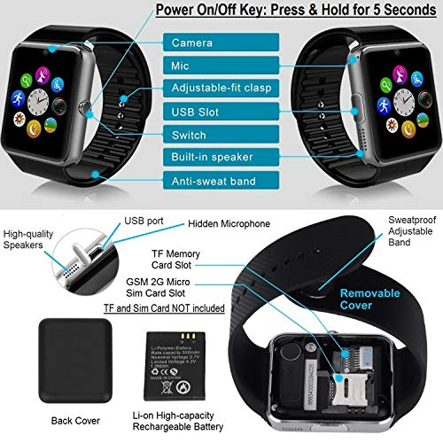 CNPGD Smart Watch for Android Phones Samsung Iphone Compatible Quad Band Unlocked Watch Cell Phone for Men and Women Touch Screen Fitness Tracker Pedometer Sleep Monitor