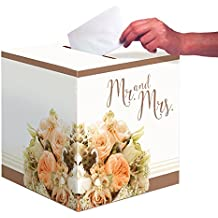 Creative Converting Bridal Shower or Wedding Card Box, Rose Gold Bouquet