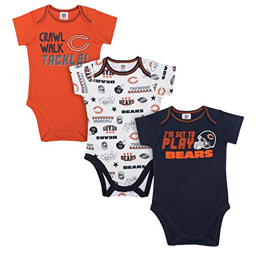 NFL Chicago Bears Unisex-Baby 3-Pack Short Sleeve Bodysuits, Blue, 3-6 - Baby Chicago Clothes Bears