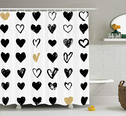 Ambesonne Love Decor Shower Curtain Set, Small Heart Icons Valentine's Theme Stylized Hipster Liking Spouse Couples Design, Bathroom Accessories, 69W X 70L Inches, Tan Black (Hearts Shower Curtain Set)