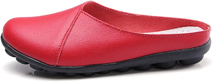 Women's Slip on Leather Loafer Mules