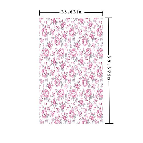 3D No Glue Static Decorative Privacy Window Films,Pink Roses with Grey Leaves Bedding Plants Spring Blossoms Decorative,W15.7xL63in,For Living Room Bathroom Kitchen Front Door with Light Pink White G